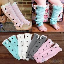 Baby Kids Girl's Crochet Knitted Button Toppers Lace Leg Warmers Trim Boot Cuffs Socks 2KS8(China (Mainland))