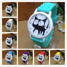 2015 New Famous Brand Geneva Cat Children Cartoon Jelly Quartz Watch Kids Casual Silicone Watches Relogio Clock Wristwatches Hot