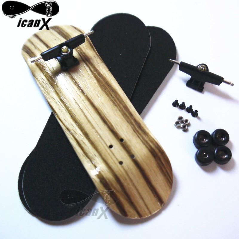 ICANX 32MM Wooden Zebra Stripe Decks Alloy Trucks Mini Fingerboard Skateboard Bearing Wheels Finger Skateboard With Tool,FBS015(China (Mainland))