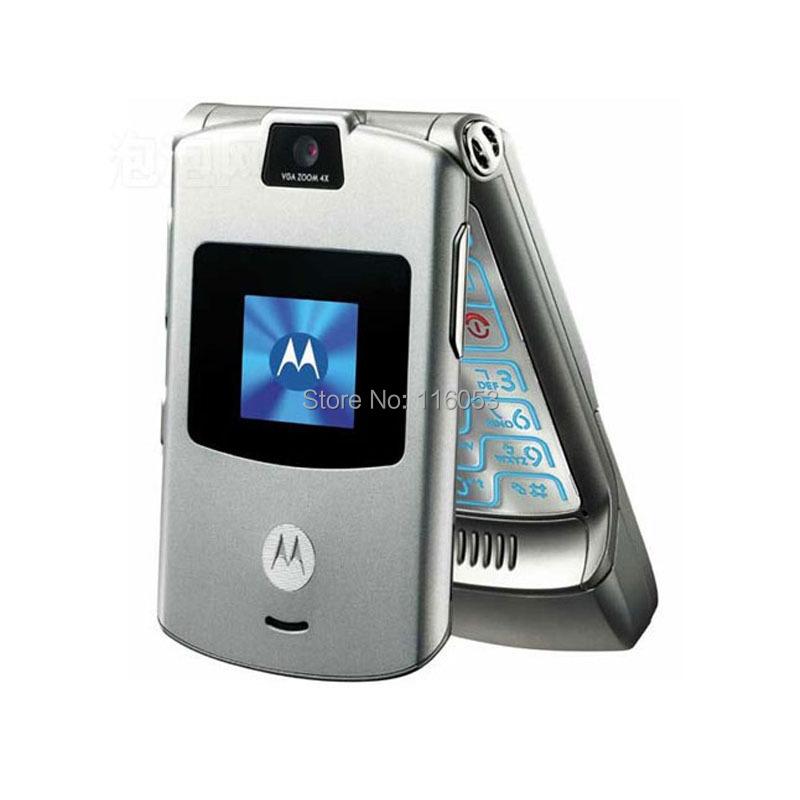 100% GOOD quality Original Motorola Razr V3 mobile phone one year warranty(China (Mainland))