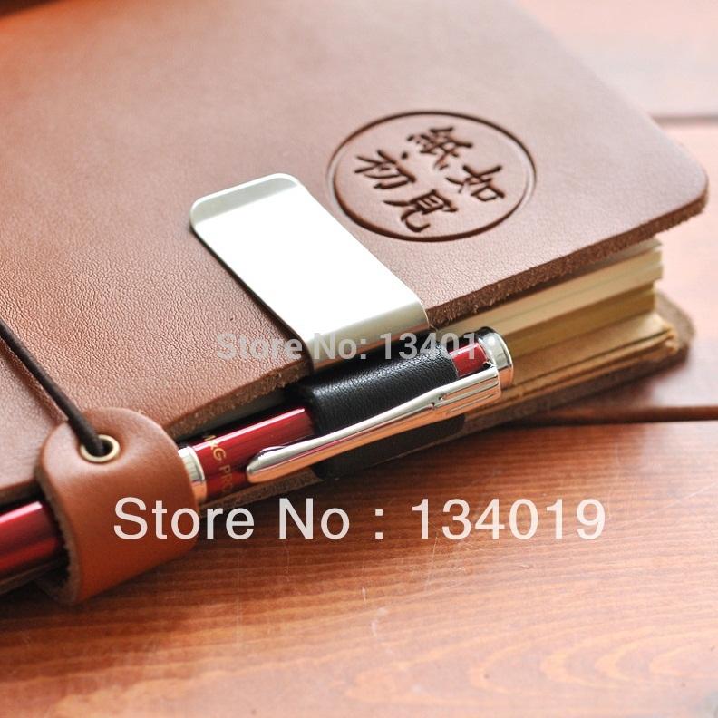 Custom notebook clip, genuine leather notebook notebook, metal pen holder, paper folder(China (Mainland))
