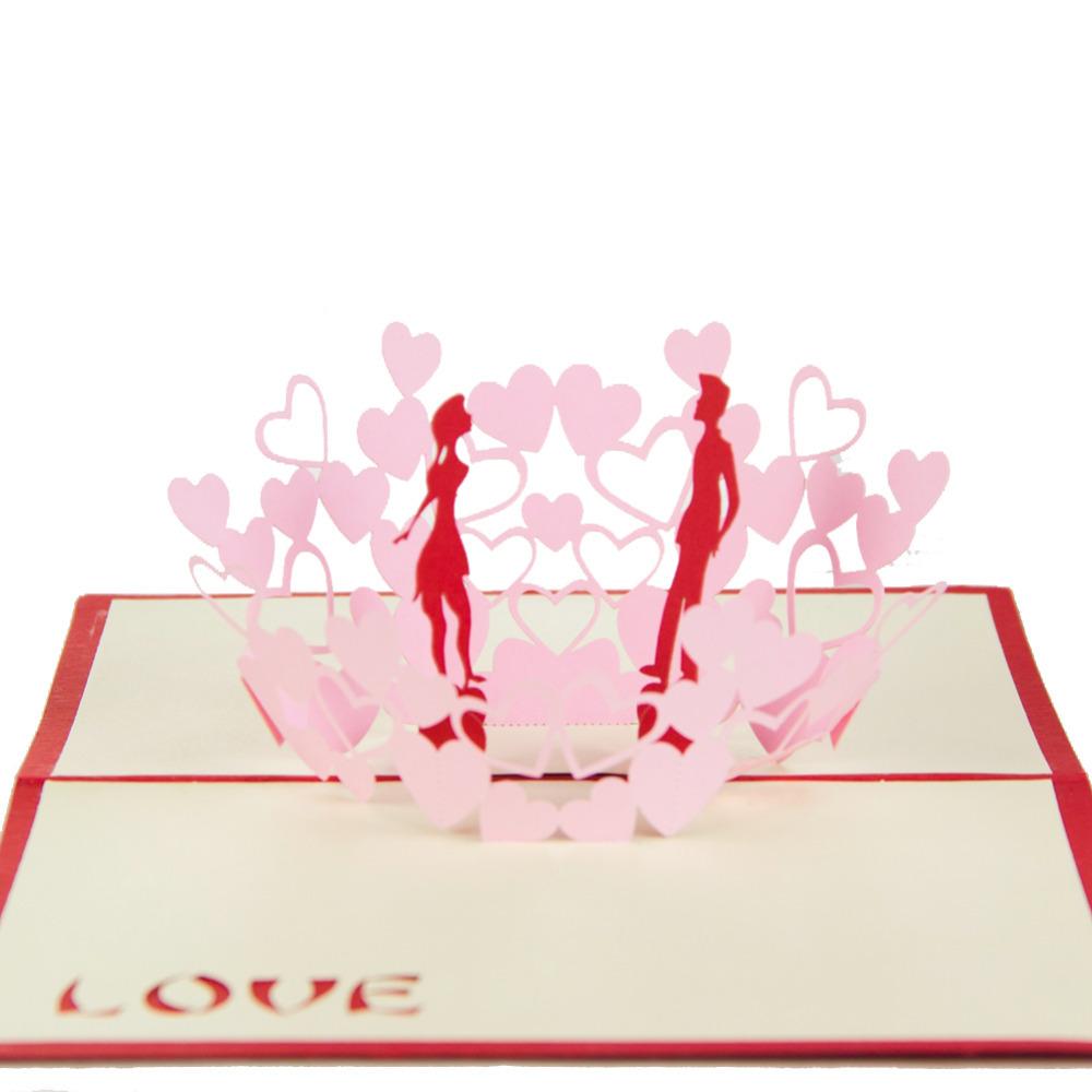 doux amant dans coeurs main kirigami origami 3d pop up. Black Bedroom Furniture Sets. Home Design Ideas
