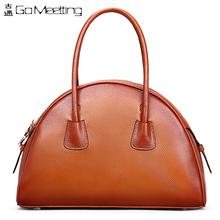 FS Half Moon Genuine Leather Women's Handbags First Layer Cowhide High-Grade Top-Handle Bags