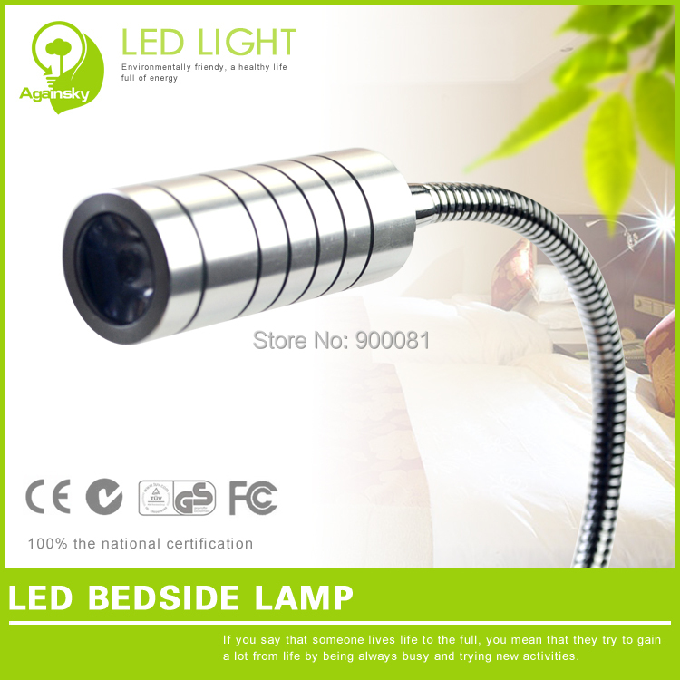 1W LED Flexible Bed Light AC220V Aluminum Silver LED Bed wall lamp Warm White Soft Lighting for Eyeshield + 10%OFF(China (Mainland))