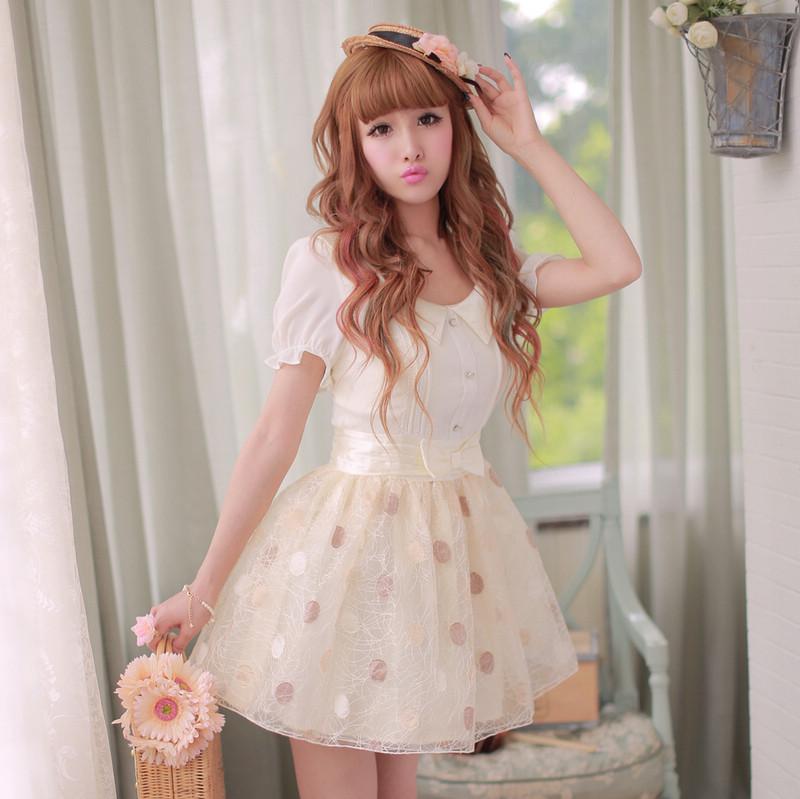 Princess sweet lolita dress Candy rain new summer  princess organza Wave point chiffon lace patchwork dress W64Одежда и ак�е��уары<br><br><br>Aliexpress