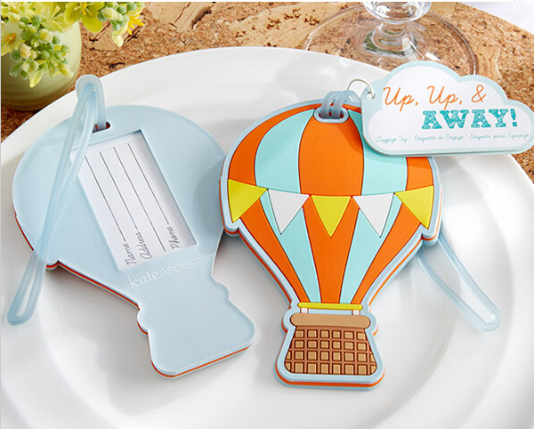 "24pcs/Lot NEW Wedding Favors ""Up, Up & Away"" Hot Air Balloon Luggage Tag Rubber Luggage Tags Bridal Shower Favor FREE SHIPPING(China (Mainland))"