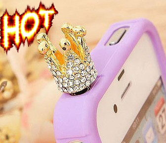 Free Shipping Random Color Silver Gold Crown Rhinestone Big Gem Mobile phone Crown dust plug 3.5mm jack for SAMSUNG iphone5(China (Mainland))