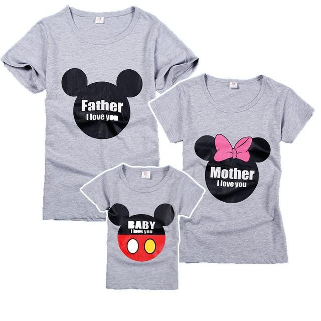 Семья соответствующий наряд серый мультфильм 100% хлопок семья взгляд футболка с ...