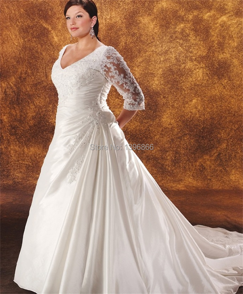 Plus size vintage wedding dresses with sleeve 2015 for Vintage wedding dresses plus size