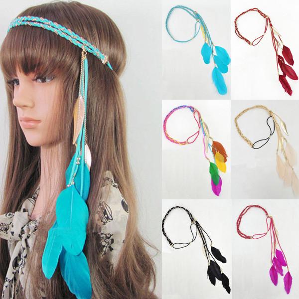 Womens Feather Leaf Weaves Tassels Chain Head Hair Band Head Dance Accessories(China (Mainland))