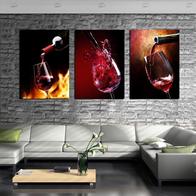 Acquista 3 pezzo cucina moderna dipinti - Pinturas decorativas en paredes ...
