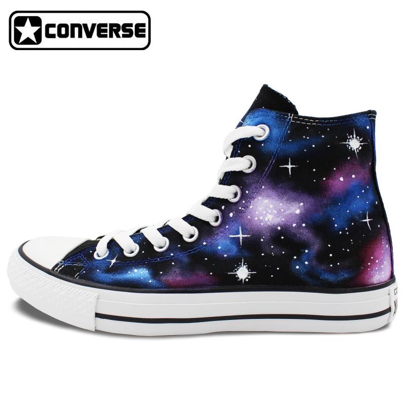 Men Women Sneakers Galaxy Nebula Converse Chuck Taylor Original Design Hign Top Hand Painted Shoes Christmas Gifts - WenArtWork Store store