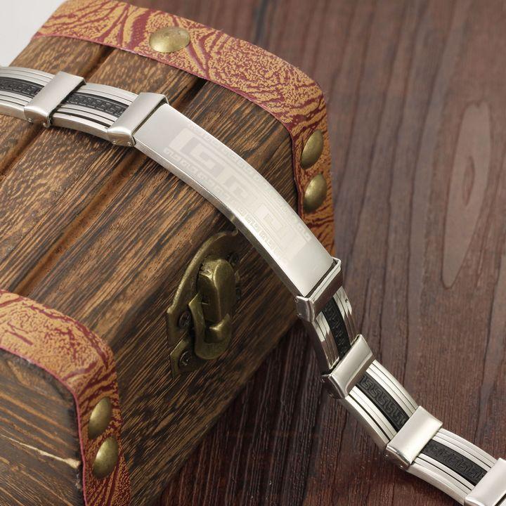 Wholesale 2015 new fashion jewelry men bracelets Silicone titanium steel Bracelet for men Great Wall creative