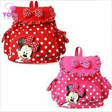 girls schoolbags 2015 new fashion children cotton fabric cartoon bag kids dot zipper backpack bags W049(China (Mainland))