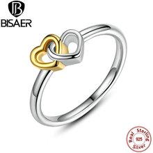 925 Стерлингового Серебра Любовь Interlocked Золотое Сердце Обручальное Кольцо Обручальные Кольца для Женщин Совместимо с Ювелирные Изделия Стерлингового Серебра(China (Mainland))