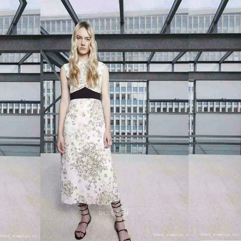 White Black sleeveless black empire waist calf length 2016 high quality Embroidery women's fashion dresses women N1603028(China (Mainland))