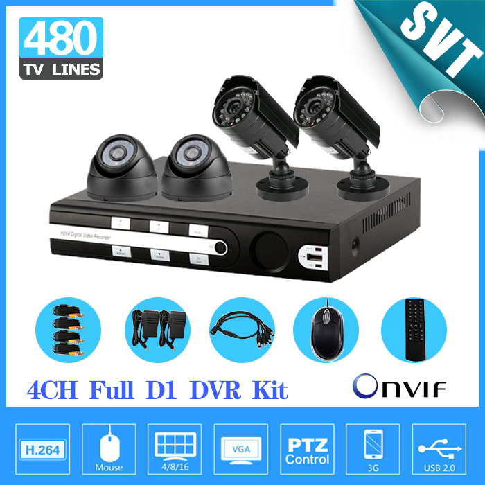 Fast Express Free Shipping Home 480TVL indoor outdoor motion detection cctv Security Camera 4CH D1 DVR Video Surveillance System(China (Mainland))