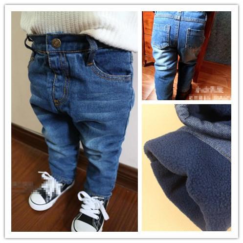 thick winter Plus warm baby jeans kids pants boys girls children - Kids Landmark store