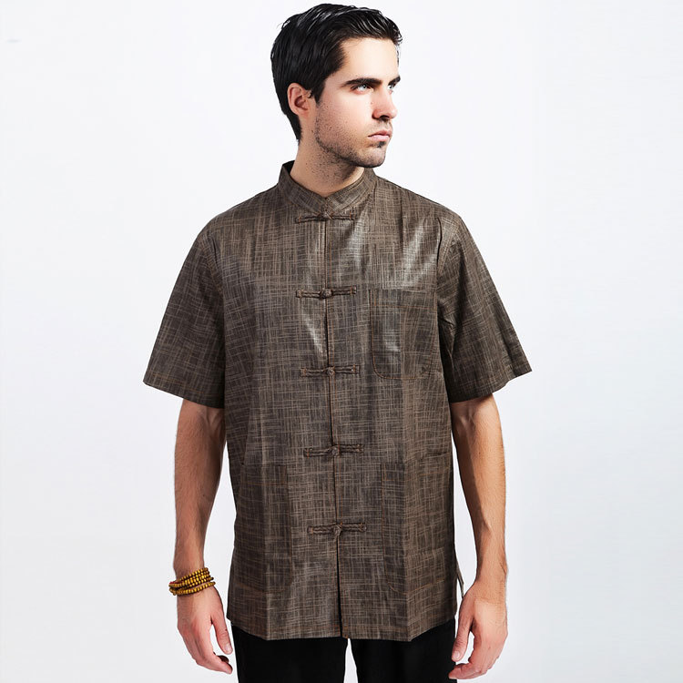 Male short sleeved shirt Chinese traditional men's Plaid shirt collar, Chinese fashion costume features of costumes(China (Mainland))