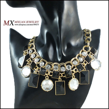 2013 new Europe and USA Leading Women's Fashion Star Luxury Gift Resin Chunky Gold Chain Necklace Hot Sale Free Shipping NK054
