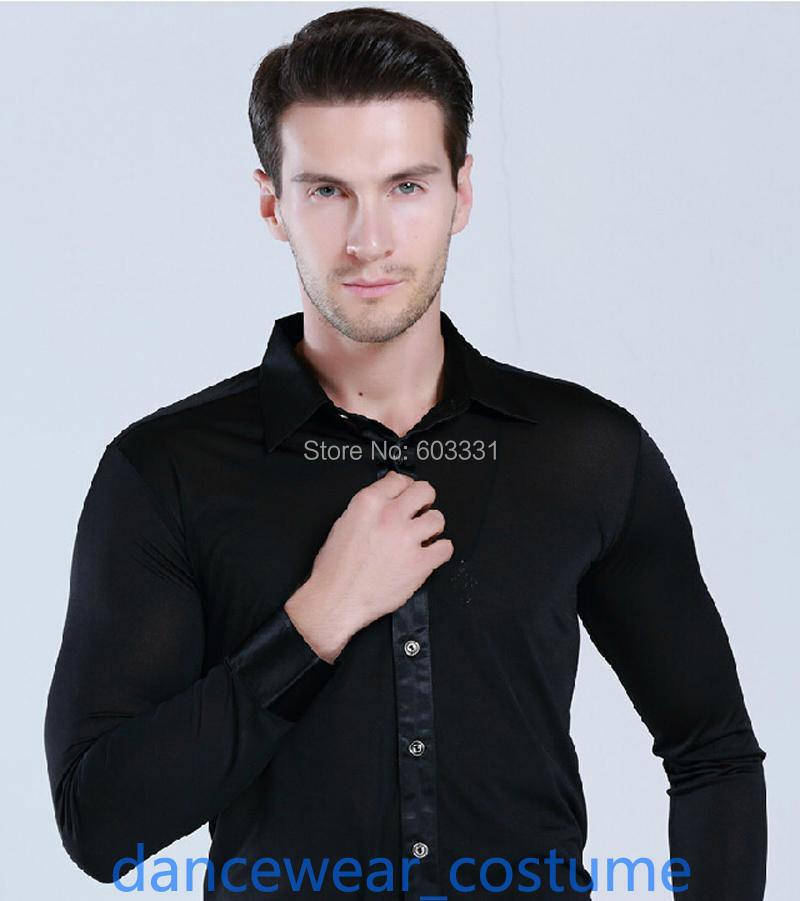 Mens Black Ballroom Latin Salsa Dance SHIRT Male Cha-cha Rumba Samba Modern Tango Dance Competition Practice Tops Shirts Costume(China (Mainland))