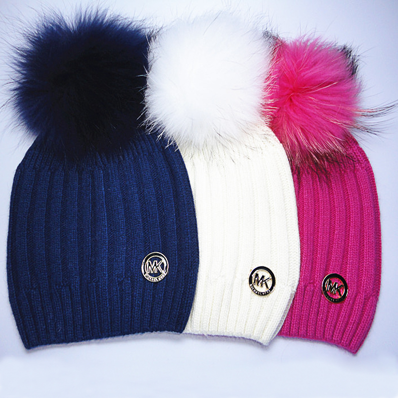 2015 Brand Winter Knitted Wool Hats For Women Raccoon Pom Poms Wool Skullies And Beanies Women 6 Color Casual Hat Beanies Cap(China (Mainland))