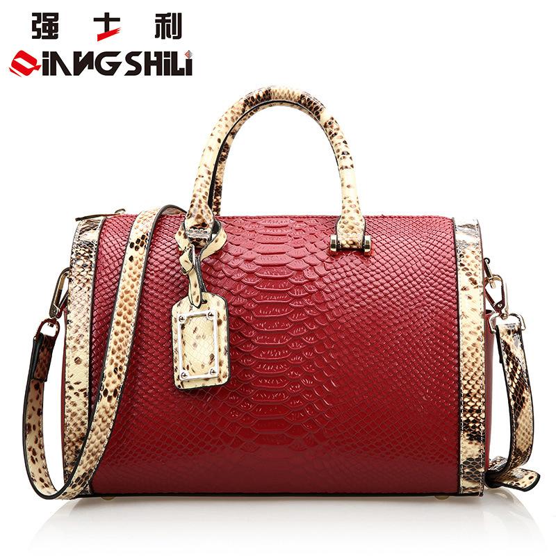 Фотография QIANGSHILI  2016 Genuine leather Women Handbag Brand Shoulder Bowling Bags Tote High Quality Women Messenger Bags Bolsas DB4661