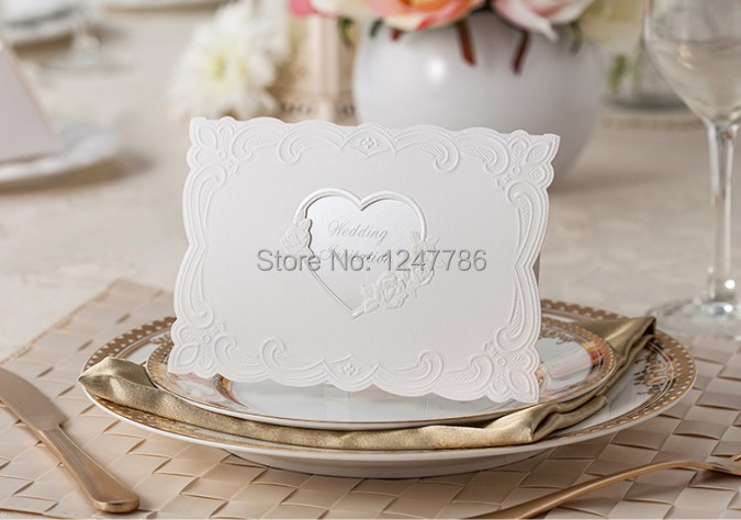 25 sets/lot Free shipping wedding invitation card laser cut hollow out a heart high quality Europe style(China (Mainland))