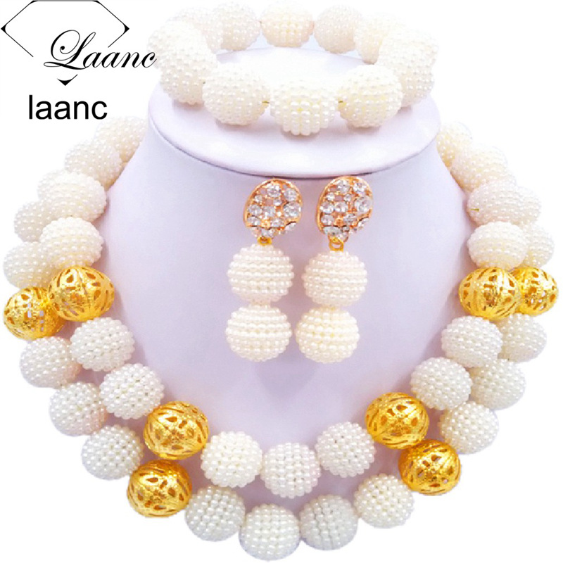 01-African Simulated Pearl Beads Jewelry Set Singe Color (14)