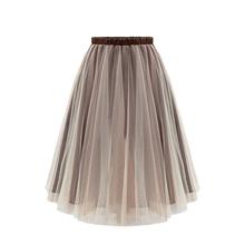 2016 Summer Retro Tulle Skirt Elastic High Waist Skirt Fashion Women Knee Length Tutu Skirt Large Size Women Skirts Jupe Femme