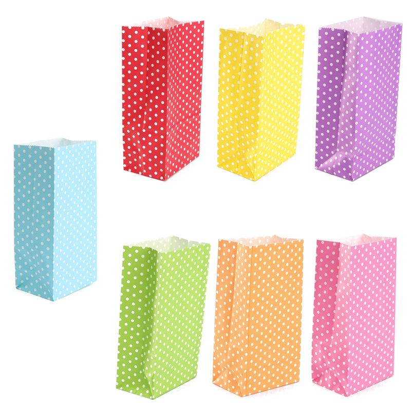 5Pcs Colored Dots Flat Bottom Bag Food Treat Candy Paper Bags Gift/Wedding/Christmas/Kids Birthday Party Packaging Bag(China (Mainland))