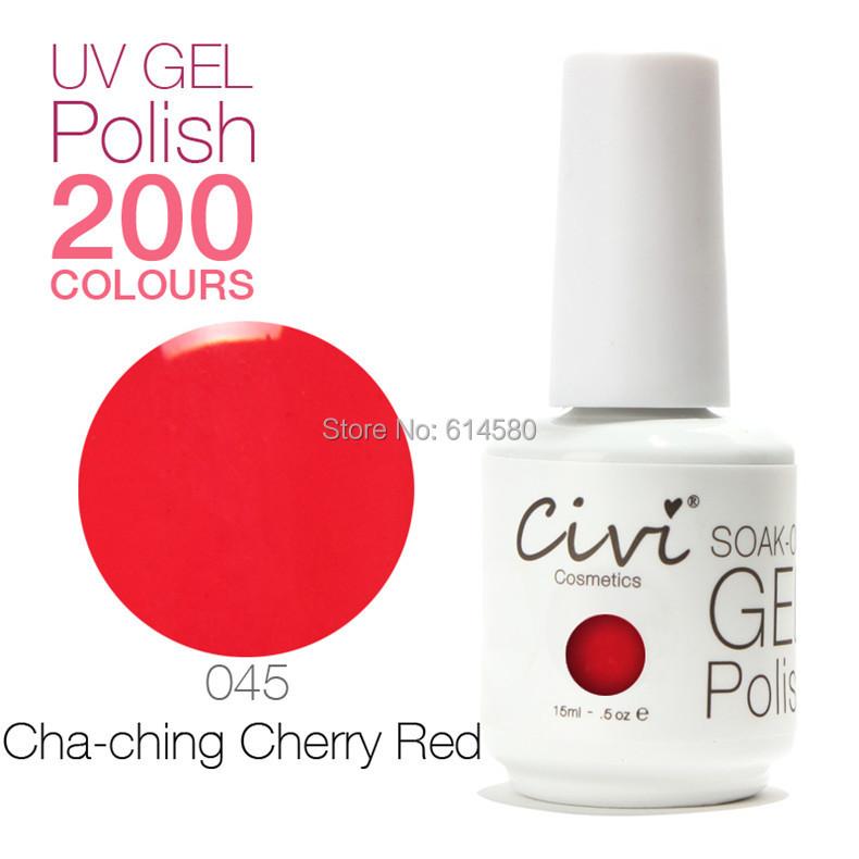 Civi 15ML #045 Cha-Ching Cherry Red UV Gel Nail Polish Cosmetics Art 200 Colors Choose - Ecomcase Store store