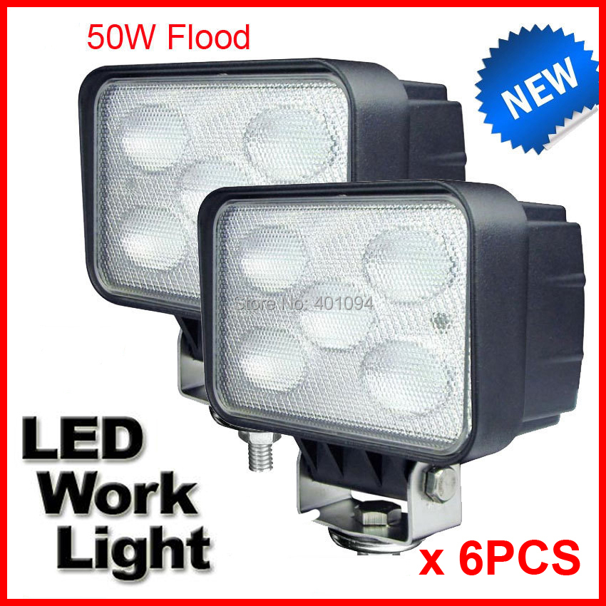 "Фотография 6PCS 5.5"" 50W CREE 5LED*10W Driving Work Light Rectangle Offroad SUV ATV 4WD 4x4 Flood Beam 12/24V 4500lm High Power Truck Lamp"