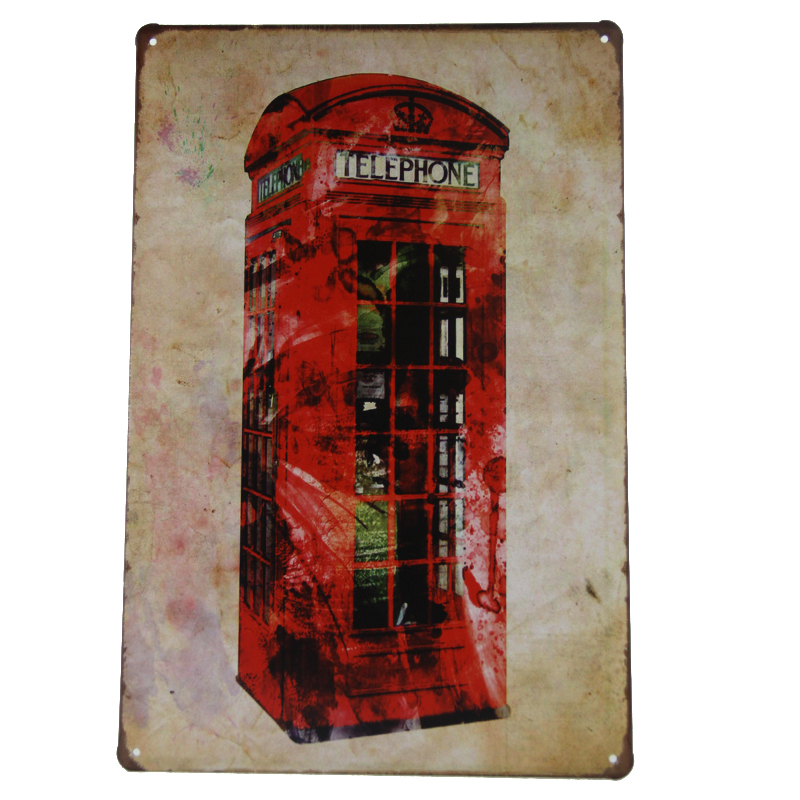 Popular Gift Red Telephone Box Vintage Tin Sign Bar Pub