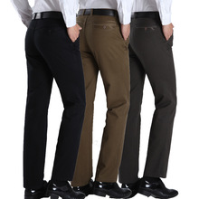 2015 Winter New Mens Leisure Long Pants High Quality Cotton Straight Loose Trousers Fashion Male Formal Business Casual Pants(China (Mainland))