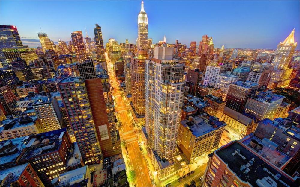 Building Cityscape Manhattan NYC New York City Skyline 4 Sizes Home Decor Canvas Poster Print(China (Mainland))