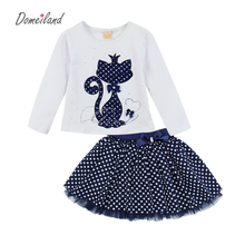 2017 Fashion Spring DOMEILAND Boutique Outfits Baby clothes Girls Sets Cute cat Print Long Sleeve Tops Bow Tutu Skirts suits(China (Mainland))