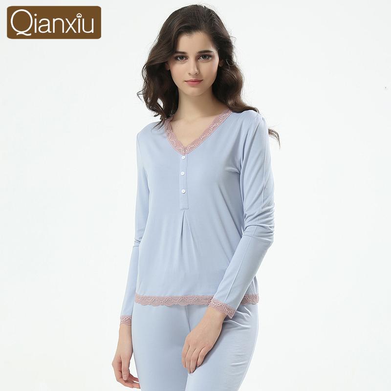 Qianxiu V-neck lace Pajama Sets New fall Knitting Long sleeve Modal Women's pajamas tracksuit(China (Mainland))