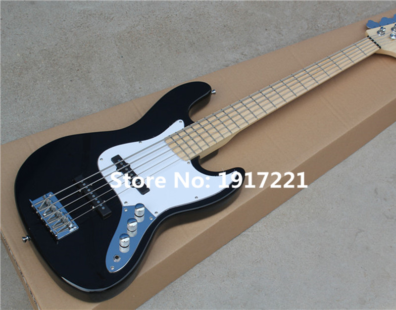 5-String Electric Bass with the Black Body and White Pickguard,Maple Fretboard,2 Single Black Pickups and Can be Customized(China (Mainland))