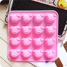16 cups pink pig Cake Tools Kitchen Bakeware Plastic Silicone  Non-Stick Baking Tray Cake Mold Christmas gift Kitchen Tools ^(China (Mainland))