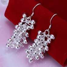 Free Shipping floating charms 925 silver  stamp earing Grape Beads drop  cufflinks joyas(China (Mainland))