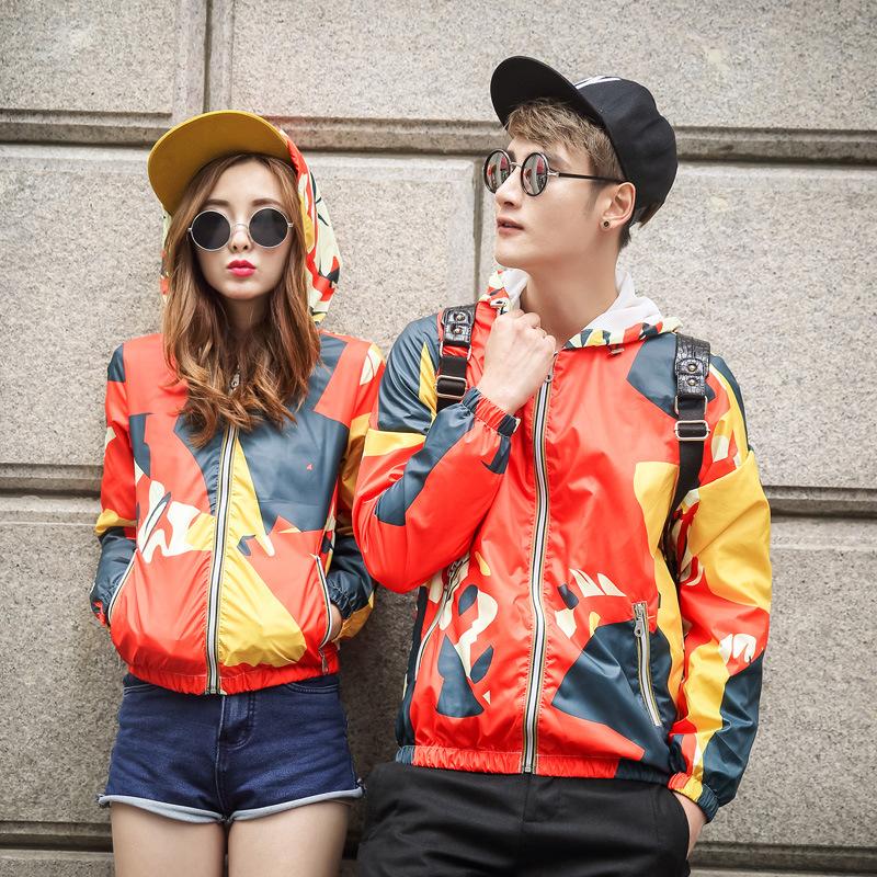 Korean Fashion Men/Women hooded jacket Long Sleeves camouflage Coat windbreaker lovers Vogue Jackets 3XL - xue mao wang's store