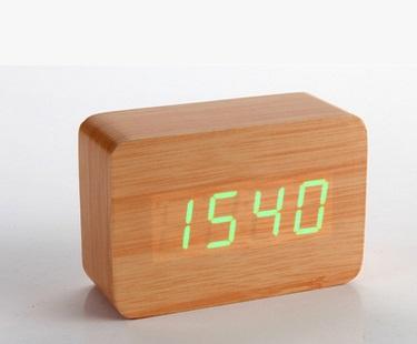 Light Brown Wood Grain Green LED Light Alarm Clock Time Temperature Sound Control Latest Generation(USB/3xAAA)(China (Mainland))