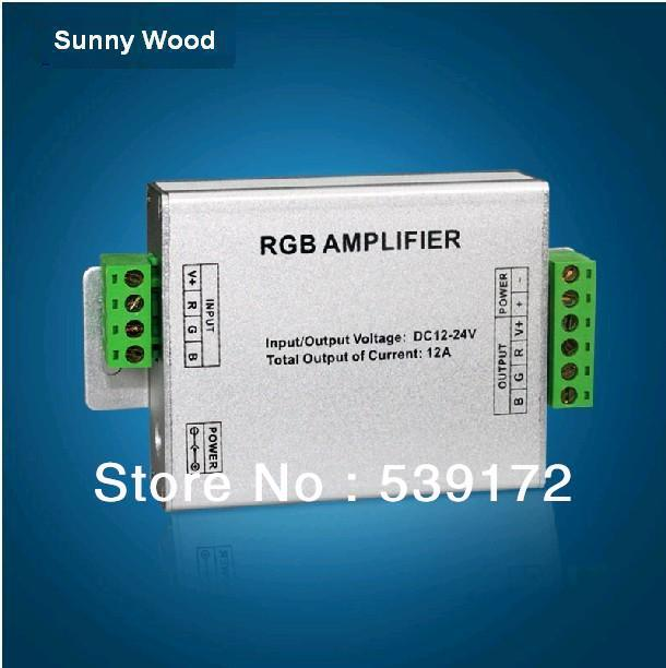 12V-24V DC LED RGB Amplifier Free shipping Current:12A used for RGB LED strips 3528 SMD or 5050 SMD etc 3 year warranty(China (Mainland))