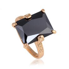 Mysterious Design Black Onyx 18K Gold Plated Health Nickel & Lead Free Zircon Prom Ring Sz #6#7#8#9#10 JR2075A - Jos fan's store