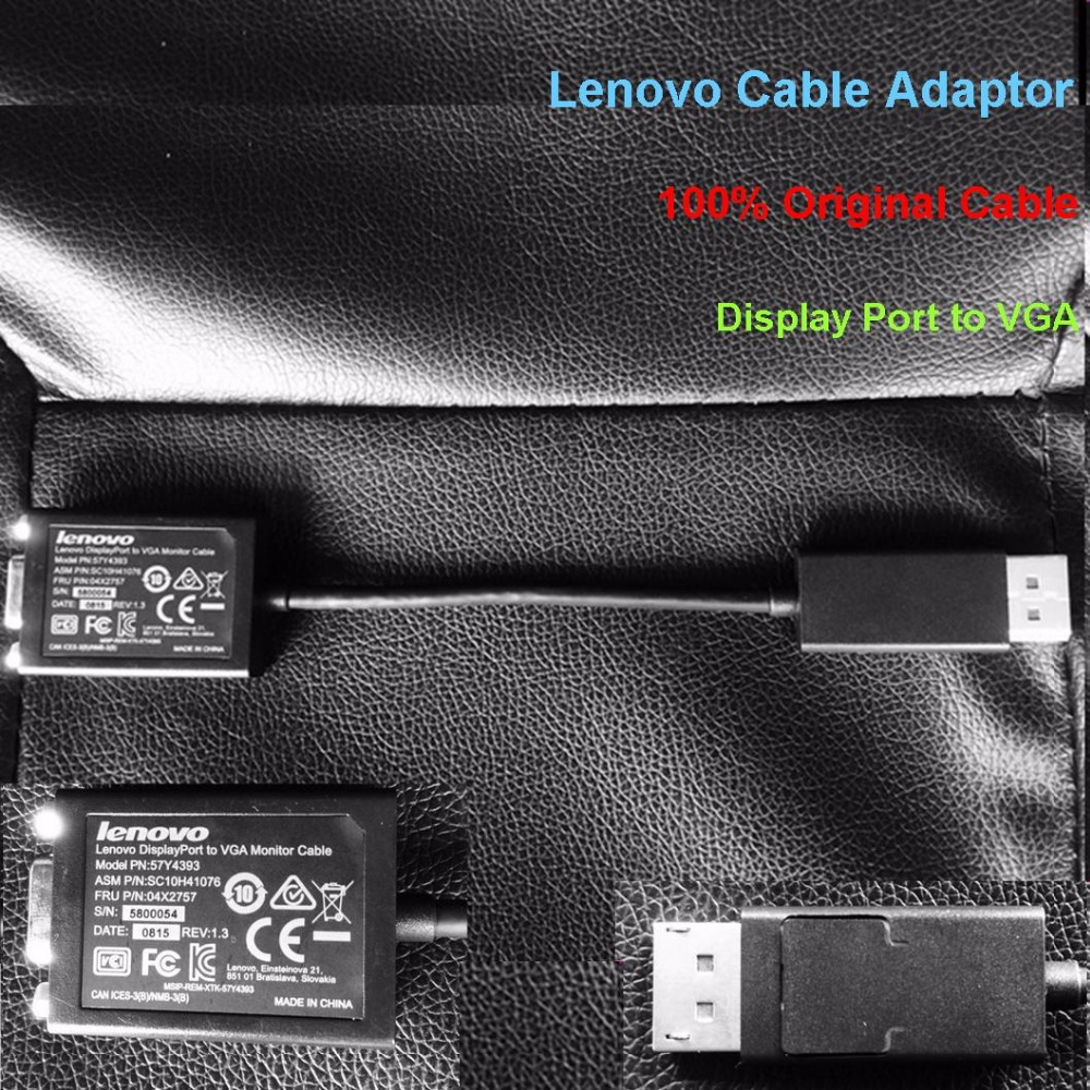 High quality!!!100% Original Lenovo Display Port to VGA Moniter Cable Adapter Display Port Converter Connectors Cable in stock(China (Mainland))