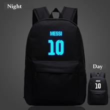 Messi 10# backpacks Night-luminous sport bags Barcelona travel bags school machila for teenagers