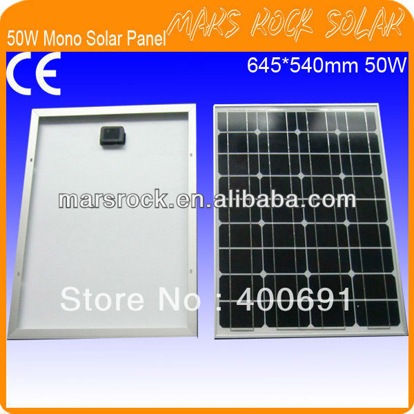 50W 18V Monocrystalline Solar Panel Moduel with Nice Appearance, Reliable Parameter, Good Waterproof, CE, TUV, UL, RoHS Approval(China (Mainland))