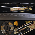 JAPANESE SAMURAI SWORD KATANA DAMASCUS FOLDED STEEL TRADITIONAL HANDMADE BATTLE READY BRASS TSUBA FULL TANG CAN