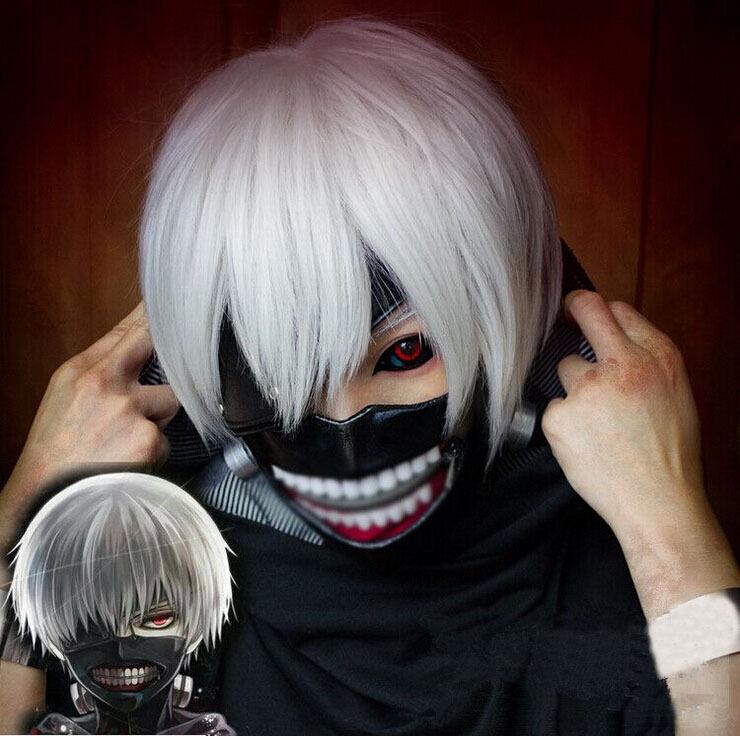 Anime Tokyo Ghoul KanekiKen kaneziki cosplay wig silvery white short men hair style heat resistance cartoon free shipping(China (Mainland))